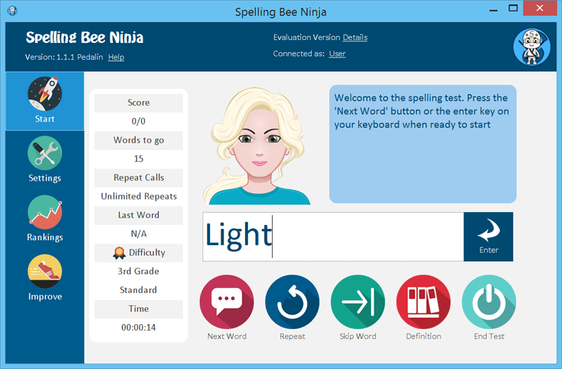 A real spelling bee training software that brings real spelling bee help versatile Screen Shot