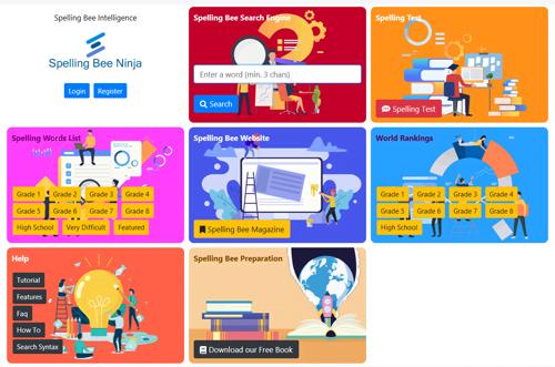 Spelling Bee Ninja app dashboard