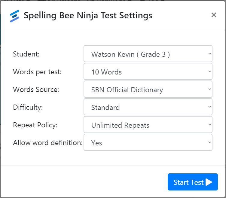 Spelling Test Options