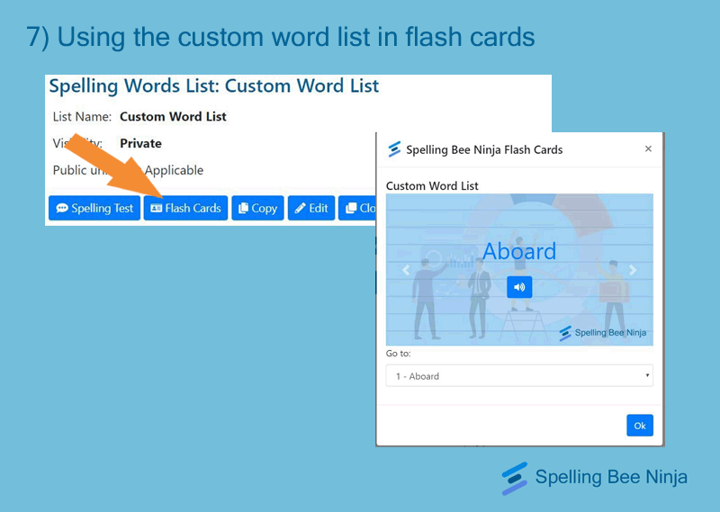 using the custom word list in flash cards