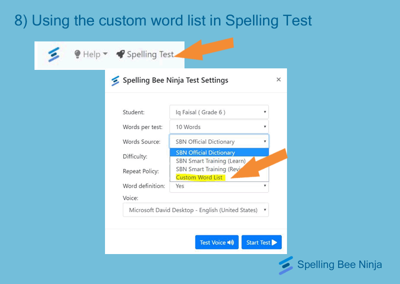 using the words list for a spelling test