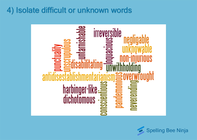 Isolate unknown difficult words