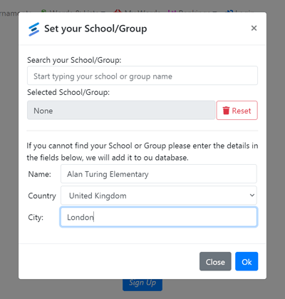 User provided School